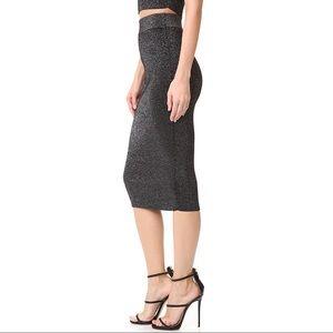 Authentic Cushnie Knit Pencil Skirt Metallic Blk.